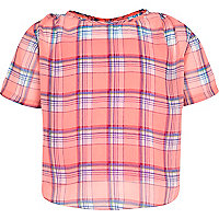 Girls pink check top with cami