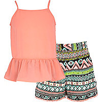 Girls coral peplum top and aztec short set
