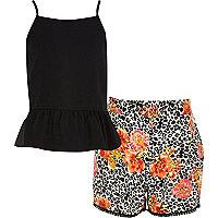Girls black peplum cami and floral short set