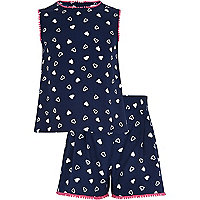 Girls navy heart tank and shorts set