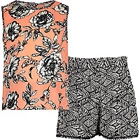 Girls orange floral tank and shorts set