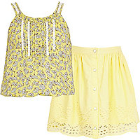 Girls yellow ditsy cami and skirt set