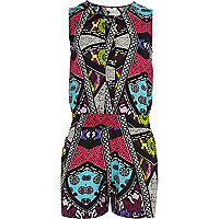Girls purple tribal print playsuit