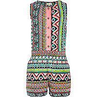 Girls pastel pink aztec print playsuit