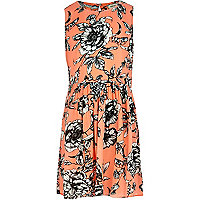 Girls orange floral print dress