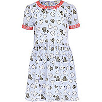 Girls blue heart print dress