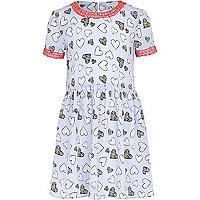 Girls blue heart print dress