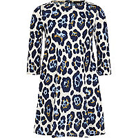 Girls blue animal print smock dress