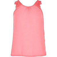 Girls pink crochet swing vest