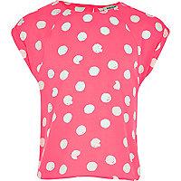 Girls pink polka dot box top