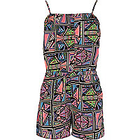 Girls black geo aztec print playsuit