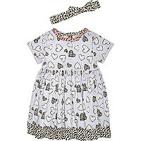 Mini girls blue heart print smock dress