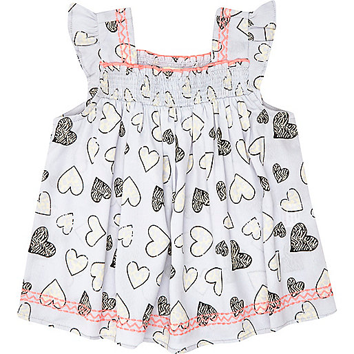 Mini girls blue heart print smock top