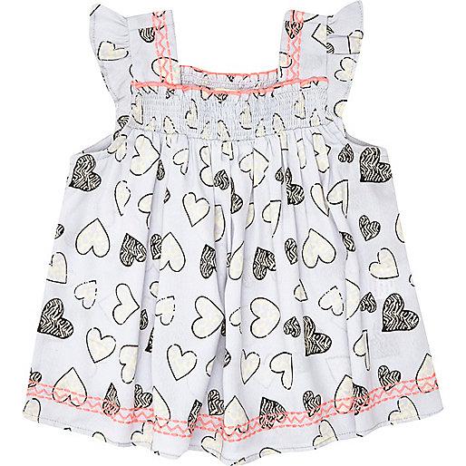Mini girls blue heart print smock top