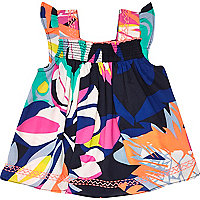 Mini girls tropical print smock top
