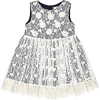 Mini girls navy flower prom dress