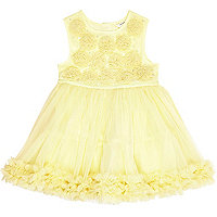 Mini girls yellow ruffle prom dress