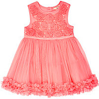 Mini girls pink ruffle prom dress