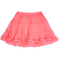 Mini girls bright pink ruffle tutu