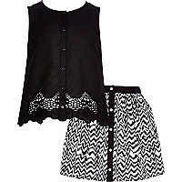 Girls mono embroidered top and skirt set