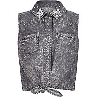 Girls grey bleach wash embellished shirt