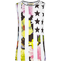 Girls floral stars and stripes print vest