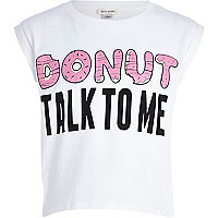 Girls white donut talk to me print t-shirt