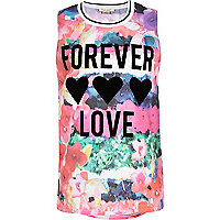 Girls pink floral forever love print top