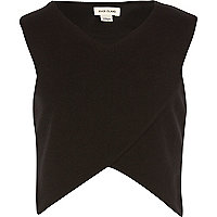 Girls black wrap over crop top
