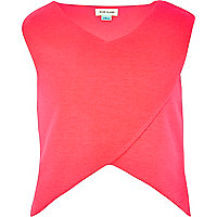 Girls bright pink wrap over crop top