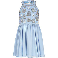 Girls light blue embellished prom dress