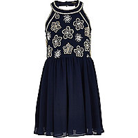 Girls blue embellished prom dress