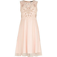 Girls pink midi embellished dress