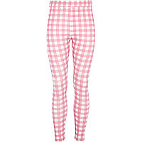 Girls pink check leggings