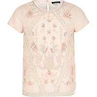 Girls pink embellished top