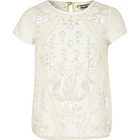 Girls cream embellished top