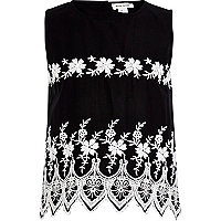Girls black embroidered top