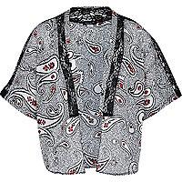 Girls black paisley print kimono