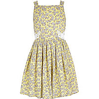 Girls yellow ditsy floral prom dress