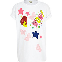 Girls white WOW t-shirt