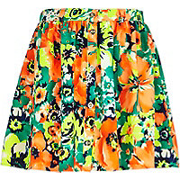 Girls orange tropical print button skirt