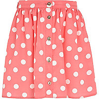 Girls pink spot button through skirt