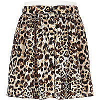Girls brown animal button through skirt