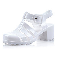 Girls white jelly block heel sandals