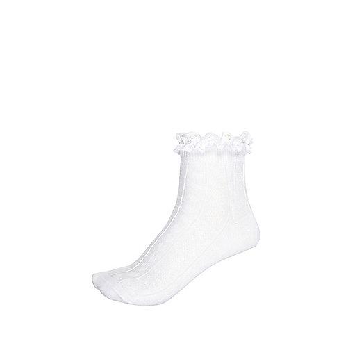Girls white lace frill socks