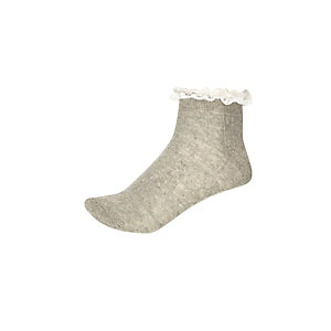 Girls grey frill lace socks