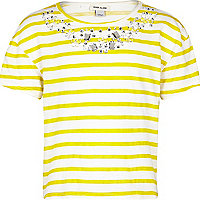 Girls yellow stripe embellished top