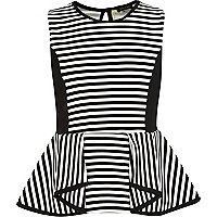 Girls black stripe peplum top