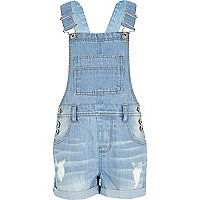 Girls mid wash denim dungarees