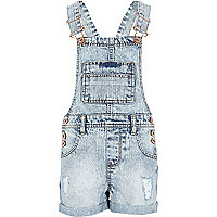 Girls acid wash denim dungarees